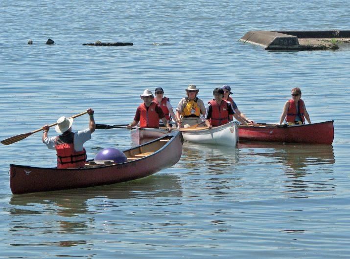Teaching canoeing at Sunnyside Beach in Toronto